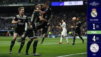 Con una humillante goleada, el Ajax puso fin al reinado del Real Madrid en Europa