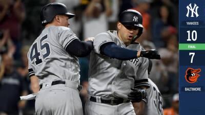 Gary Sánchez consuma regreso y lleva al triunfo a los Yankees sobre los Orioles
