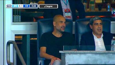 Pep Guardiola disfruta de sus vacaciones acudiendo al partido de New York City Vs FC Cincinnati
