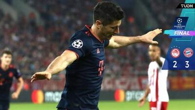 Lewandowski guía victoria de Bayern de visita a Olimpiacos