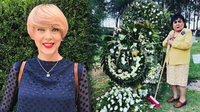 Carmen Salinas causa revuelo por foto limpiando (con escoba en mano) la tumba de Edith González
