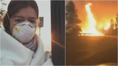 En video: Una mujer por poco muere al tratar de escapar en su vehículo de un incendio forestal en California