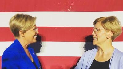 Elizabeth Warren conoce a su 'doble' en un mitin en Minnesota