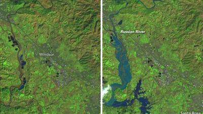 Foto interactiva: así captaron los satélites de la NASA las inundaciones en el norte de California