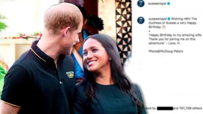Meghan Markle cumple 38 años y el príncipe Harry se luce al felicitarla en Instagram