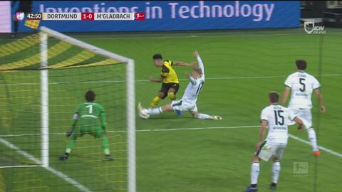 Jadon Sancho se inventó el 1-0 para el Borussia Dortmund contra Gladbach
