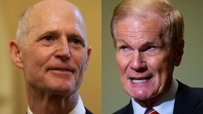 Rick Scott y Bill Nelson llegan a Washington mientras sigue el recuento de votos en Florida