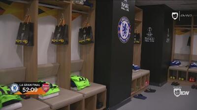 Así lucen los vestidores del Chelsea y Arsenal en el Estadio Olímpico de Bakú