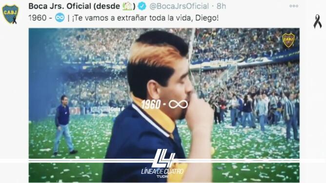 Boca homenajeó en redes sociales a Diego Maradona