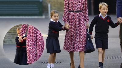 En fotos: la princesa Charlotte amaneció sonriente, pero llegó más seria a su primer día de clases
