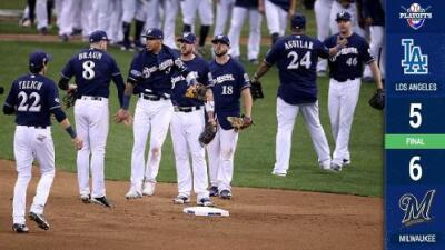 Los Brewers ganaron con tremendo susto y llevan 12 victorias seguidas (Serie 1-0)