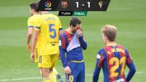Barcelona deja ir puntos ante el Cádiz... y casi LaLiga