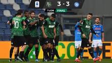 Napoli empató con el Sassuolo; AC Milan rescata un punto en la Serie A
