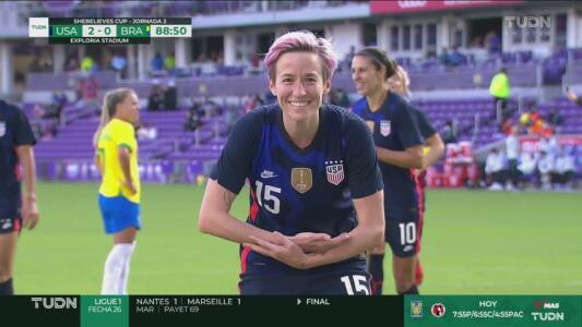 ¡Sentencia el juego! Megan Rapinoe marca el 2-0 sobre Brasil