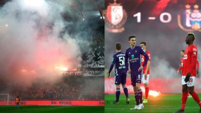 En fotos: los incidentes por los que se suspendió el Standard Liege-Anderlecht con Memo Ochoa