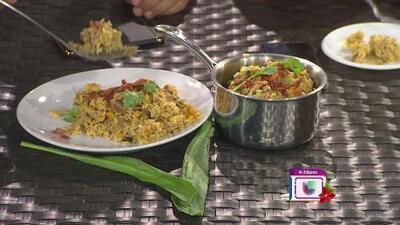 La receta: arroz cremoso con tocino y plátano frito