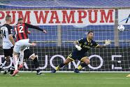 PARMA, ITALY - APRIL 10: Ante Rebic of AC Milan scores opening goal during the Serie A match between Parma Calcio and AC Milan at Stadio Ennio Tardini on April 10, 2021 in Parma, Italy. Sporting stadiums around Italy remain under strict restrictions due to the Coronavirus Pandemic as Government social distancing laws prohibit fans inside venues resulting in games being played behind closed doors. (Photo by Giuseppe Bellini/Getty Images)