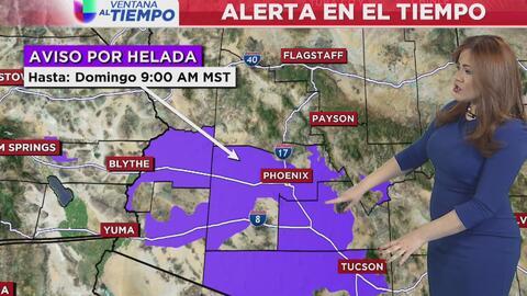 Aviso de helada para la noche de este viernes en Phoenix