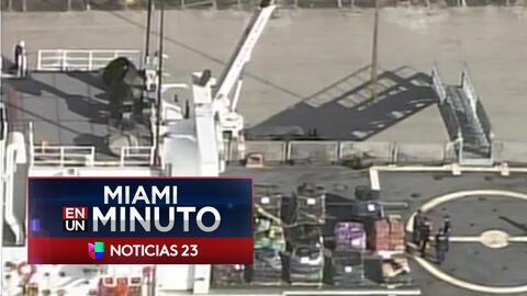 'Miami en un Minuto': Descargan en el puerto de Everglades 10 toneladas de cocaína incautada en aguas internacionales