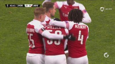 Con estos goles, Arsenal derrotó 0-3 al Vorskla en la Europa League