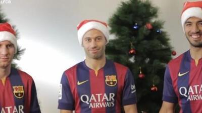 Messi, Luis Suárez y Mascherano te desean una feliz navidad