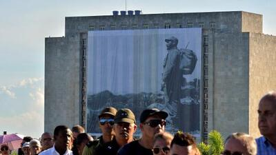 A giant picture of Fidel Castro is displayed at the 'Plaza de la Revolución'
