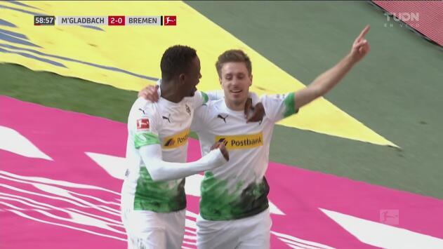 ¡Esto ya es goleada! Contragolpe de Herrmann y el Gladbach le hace el 3-0 al Werder Bremen