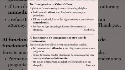Tarjeta de derechos de inmigrantes para funcionarios de ICE