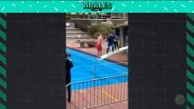 Dolorosa entrada al agua por jugar en el trampolín