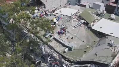 Los derrumbes por el fuerte temblor en la Ciudad de México desde un dron