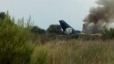Avión de Aeroméxico se accidenta en Durango, México