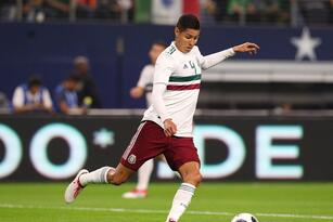 ARLINGTON, TX - MARCH 27: Hugo Ayala #4 of Mexico kicks the ball during an international friendly soccer match at AT&T Stadium on March 27, 2018 in Arlington, Texas. (Photo by Richard Rodriguez/Getty Images)