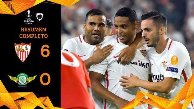 Sevilla 6 - 0 Akhisar - GOLES Y RESUMEN - Grupo J Europa League