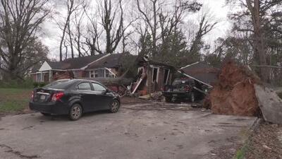 Dos árboles aplastan dos viviendas en la ciudad de Buchanan
