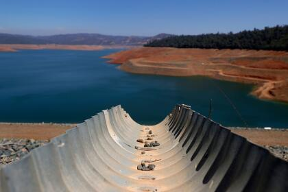 OROVILLE, CALIFORNIA - JULY 22: A dry drainage pipe leads to Lake Oroville on July 22, 2021 in Oroville, California. As the extreme drought emergency continues in California, Lake Oroville's water levels are continuing to drop to 28 percent of capacity. State water officials say that Lake Oroville's Edward Hyatt Powerplant might be forced to shut down the hydroelectric plant as soon as August or September if water levels continue to drop. (Photo by Justin Sullivan/Getty Images)