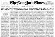 Los muertos por covid-19 en EEUU recordados en una impactante edición de  'The New York Times'