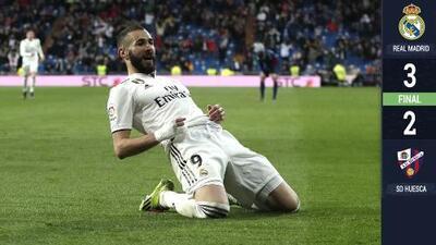 Benzema rescató al Real Madrid de sufrir un bochorno ante el Huesca