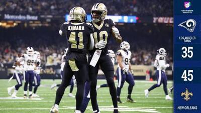 Rams pierde el invicto en New Orleans por la explosiva ofensiva de Brees y Kamara