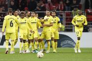 Villarreal's team players celebrate as Karl Toko Ekambi, right, scored their team opening goal during the Europa League Group G soccer match between Spartak Moscow and Villarreal at the Otkrytiye Arena stadium in Moscow, Russia, Thursday, Oct. 4, 2018. (AP Photo/Pavel Golovkin)