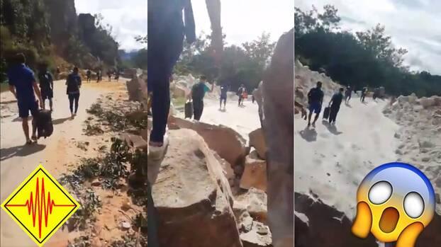 Terremoto destruye caminos y obliga a equipo de fútbol a caminar al aeropuerto