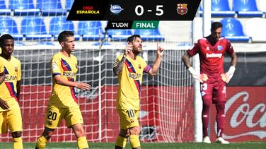 Barcelona se despide con doblete de Messi que apunta al Pichichi