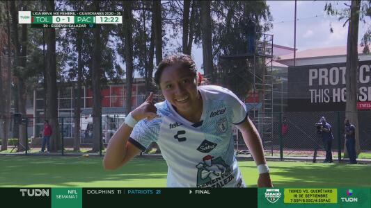 ¡Ahora sí anota! Viridiana Salazar remata de cabeza un gran centro de Karla Nieto para el 0-1