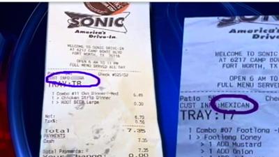 'Mexicano' y 'negro' las palabras con tintes racistas impresas en los recibos de clientes de un Sonic Drive In
