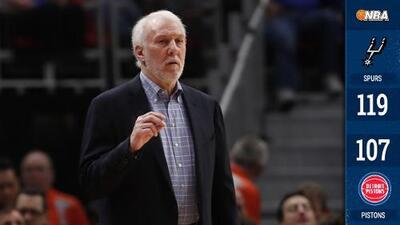 Los Spurs vencen a los Pistons y Gregg Popovich es el tercer coach más ganador de la NBA