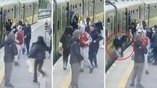(Advertencia, imágenes fuertes) Mujer cae a las vías de un tren tras ser empujada por un joven