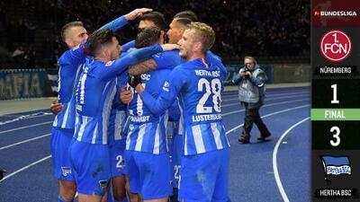 Hertha se acerca a puestos europeos y deja en el sótano de la tabla al Nürnberg