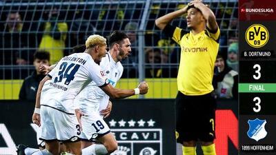 ¡Qué hazaña! Hoffenheim sacó un gran empate frente al Dortmund
