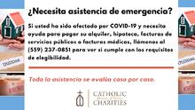 Caridades Católicas ofrece ayuda a la comunidad que se ha visto afectada por el COVID-19
