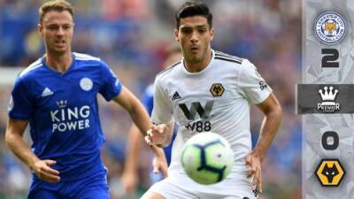 Con Raúl Jiménez en cancha, Wolverhampton cayó 2-0 ante Leicester City