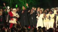 Hasta Eva Longoria cantó en el último encendido navideño de los Obama en la Casa Blanca